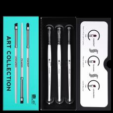 InLei® Набор Профессиональных кистей для ресниц и бровей, упаковка 3шт ( Leonardo, Vincent, Picasso)