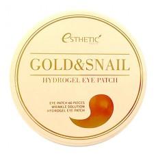 Esthetic House, Гидрогелевые патчи для глаз Gold & Snail, 60 шт.