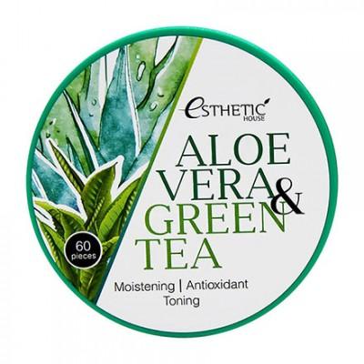Esthetic House, Гидрогелевые патчи для глаз Aloe Vera & Green Tea, 60 шт.