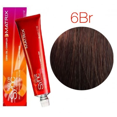 Matrix Color Sync 6BR темный блондин коричнево-красный, тонирующая краска для волос без аммиака